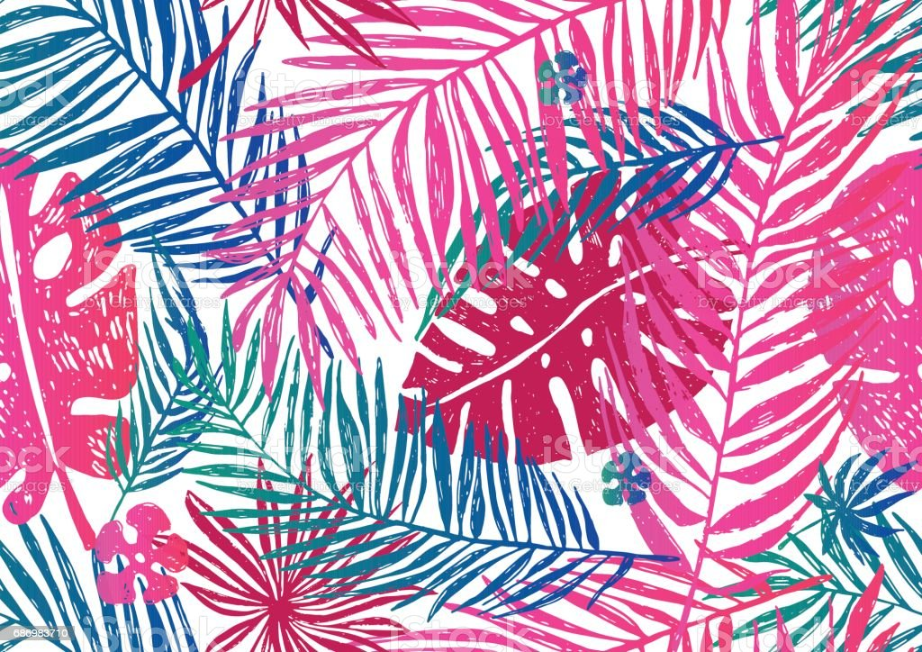 Seamless exotic pattern with pink blue palm leaves on a white background. Vector illustration. vector art illustration