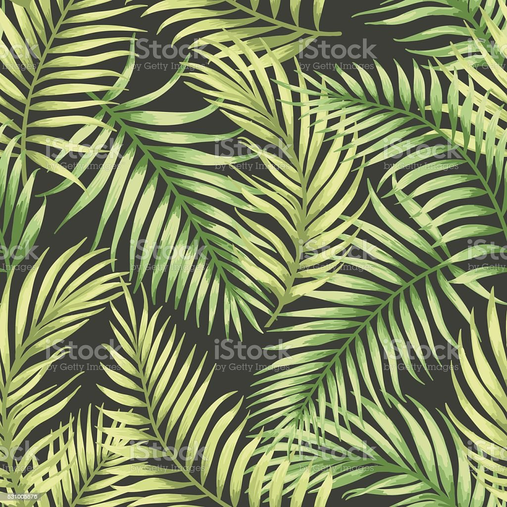 Seamless exotic pattern with tropical leaves. vector art illustration