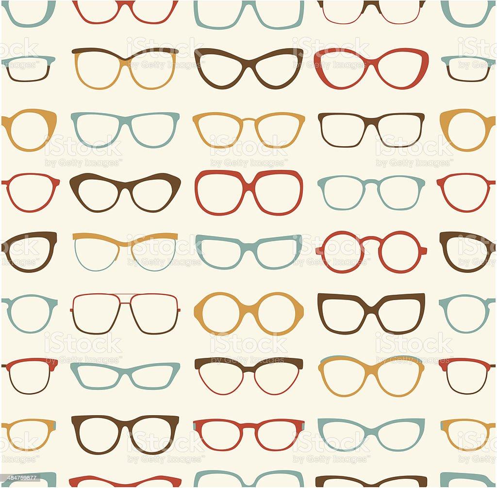 seamless eyeglasses pattern vector art illustration
