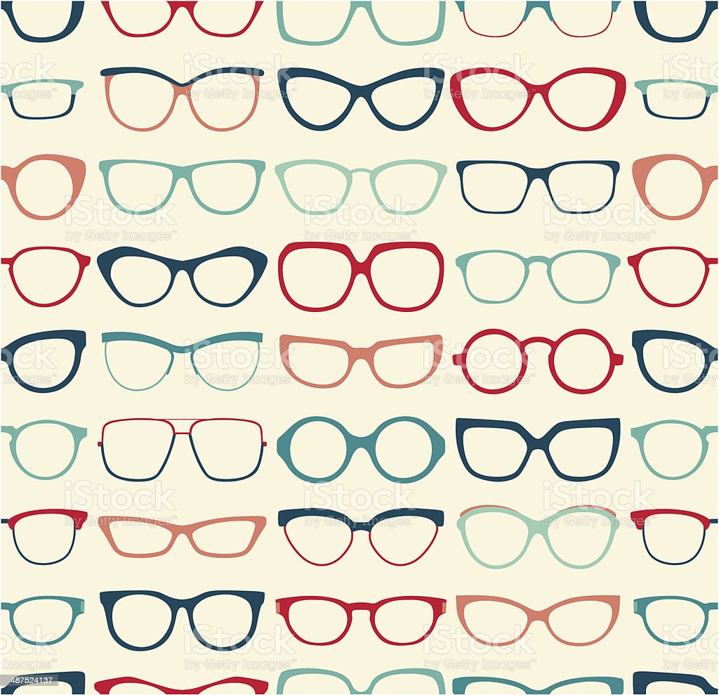 seamless eyeglasses pattern vector art illustration