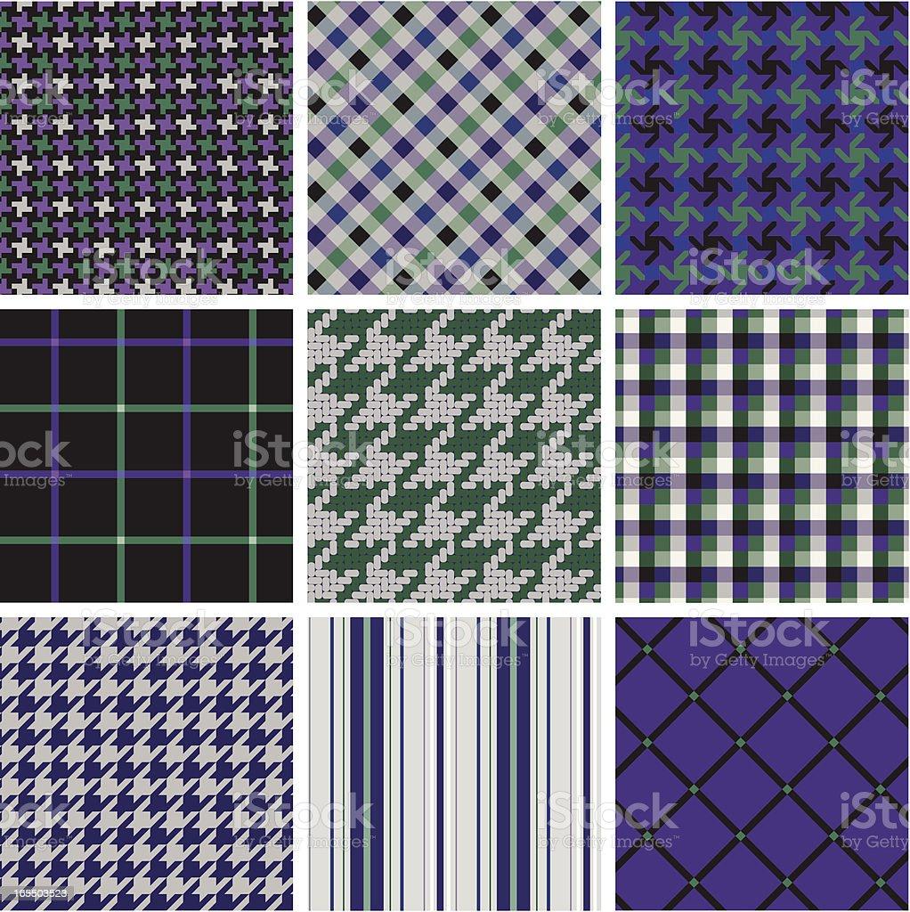 seamless fabric pattern -- green_ purple royalty-free stock vector art