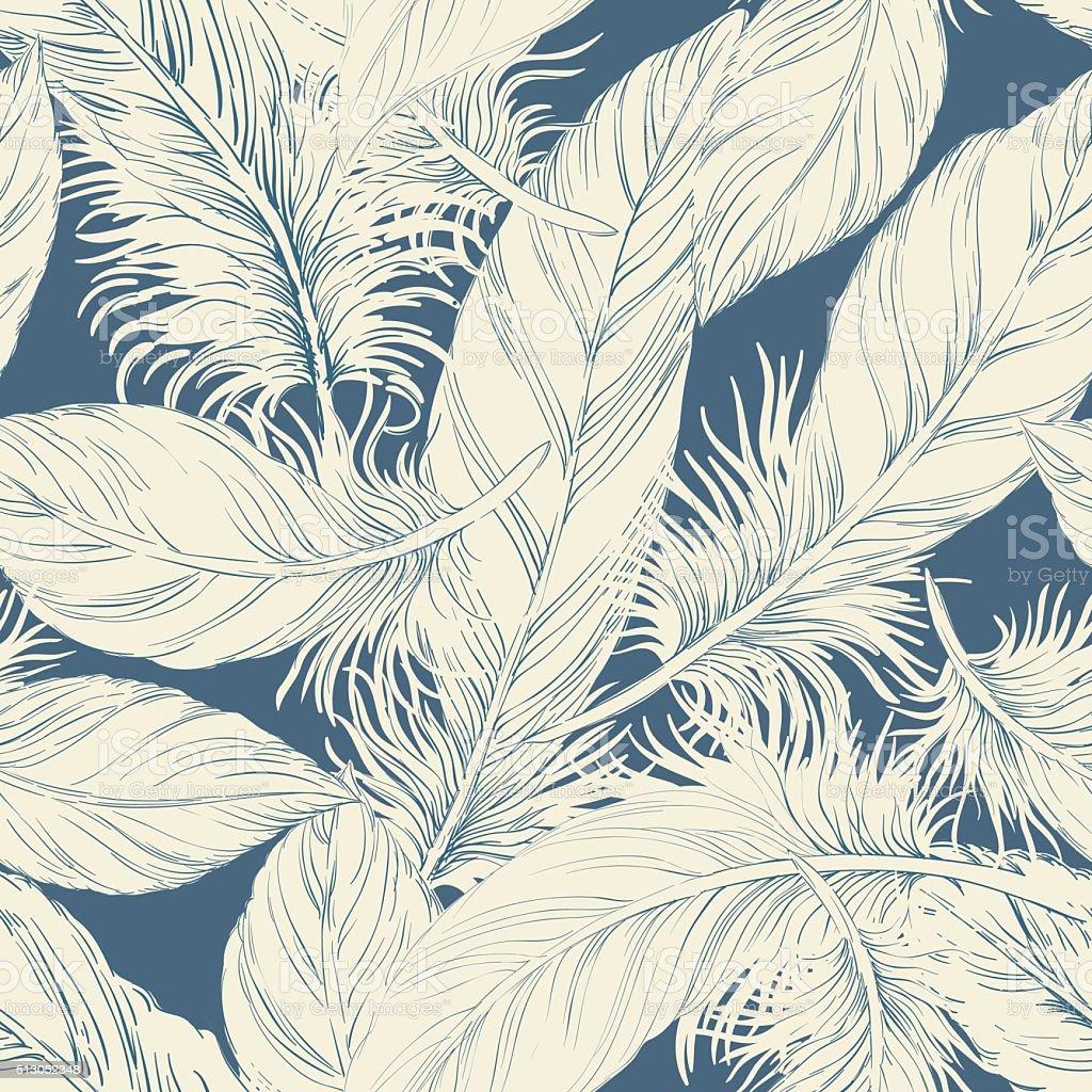 Seamless feather pattern vector art illustration