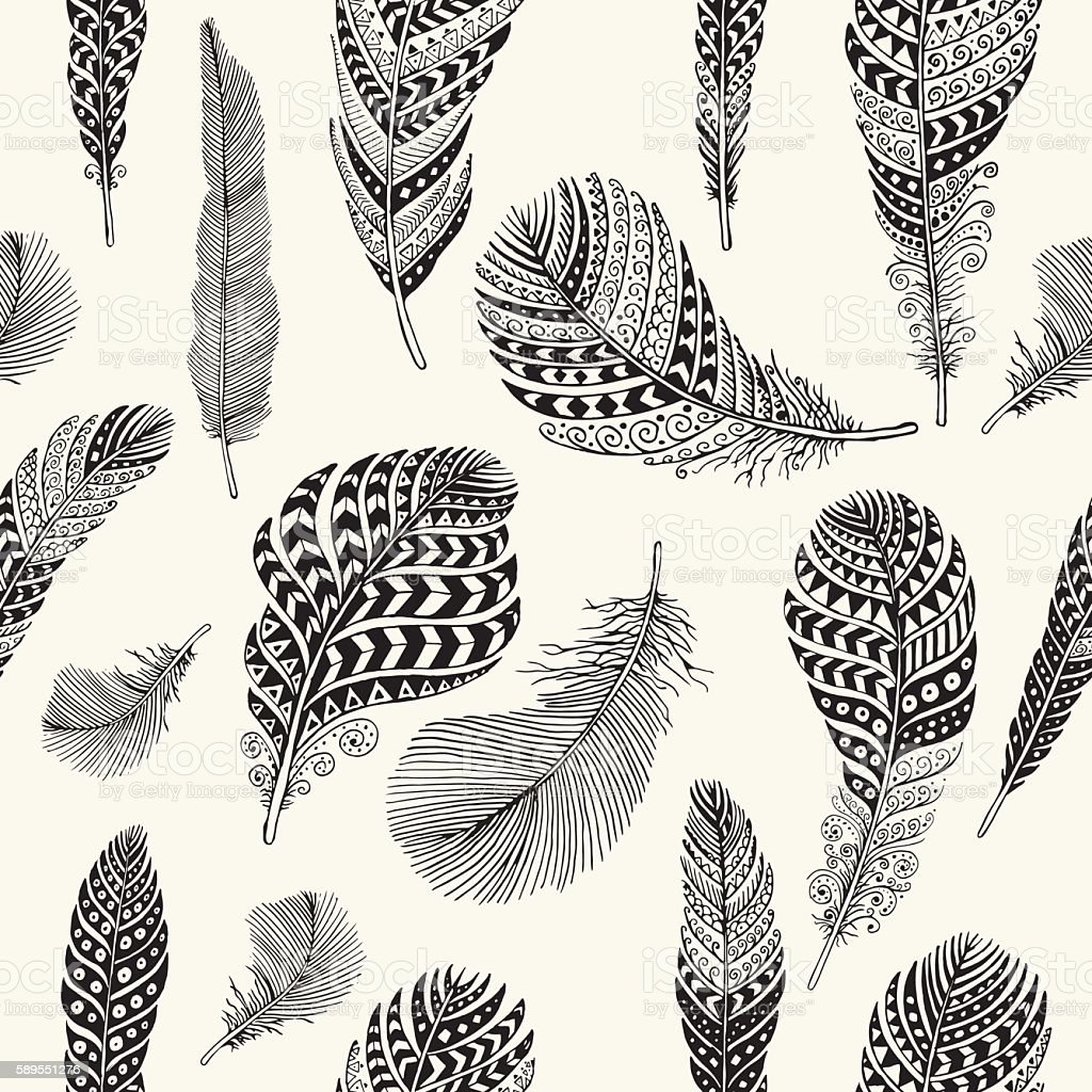 Seamless feathers pattern vector art illustration