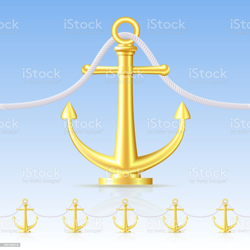 Seamless fence featuring an gold anchor. royalty-free stock vector art