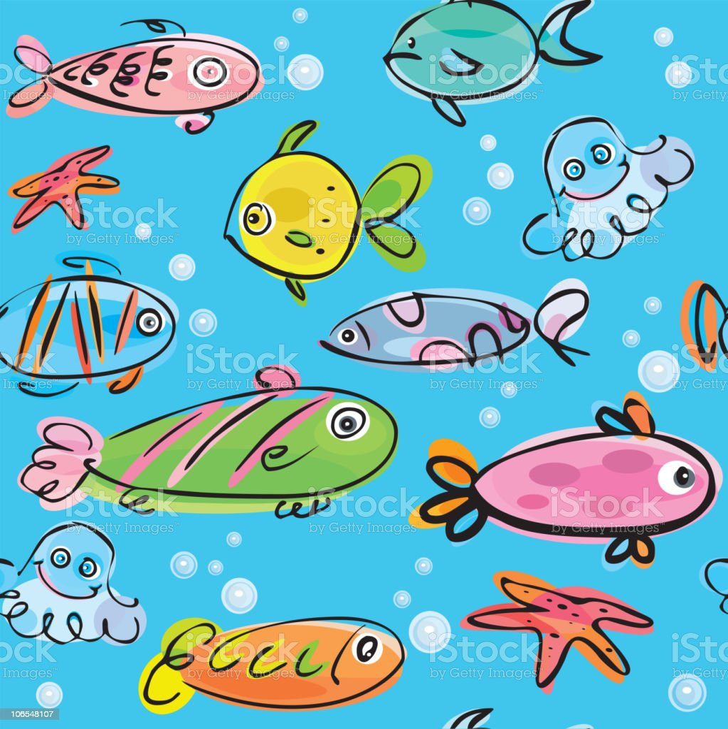 Seamless fish background. royalty-free stock vector art