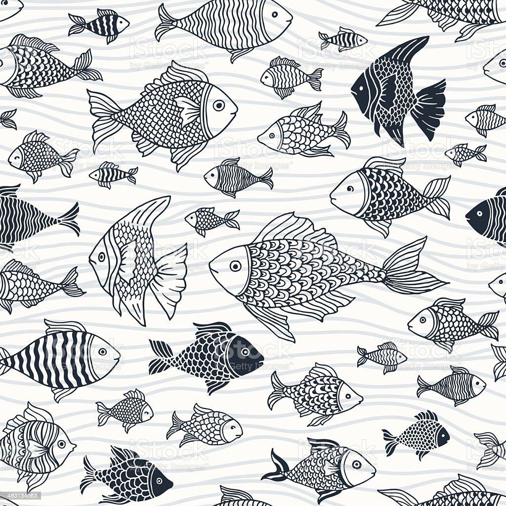 Seamless Fish Pattern vector art illustration