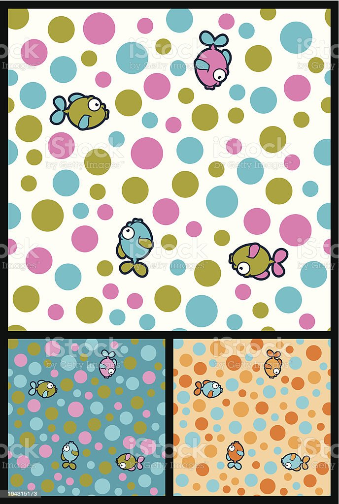 Seamless fishes and bubbles wallpaper background royalty-free stock vector art