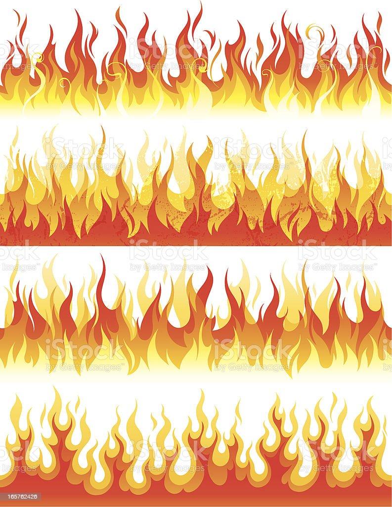 Seamless flame vector art illustration