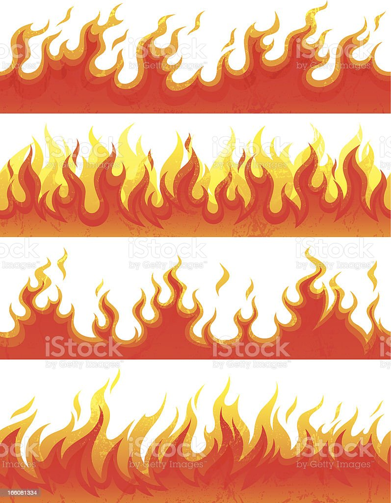 Seamless flame with grunge vector art illustration