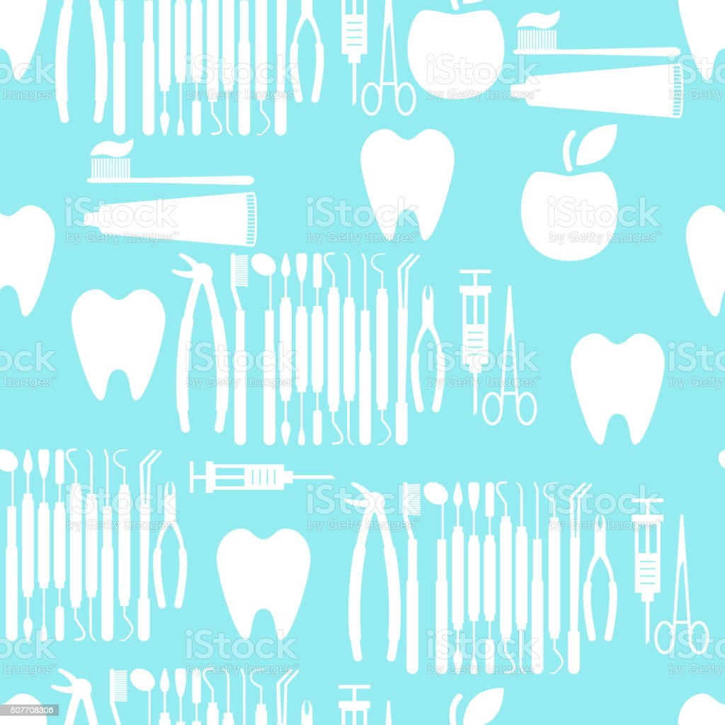 Seamless flat medical pattern with dental tools, tooth and apple vector art illustration