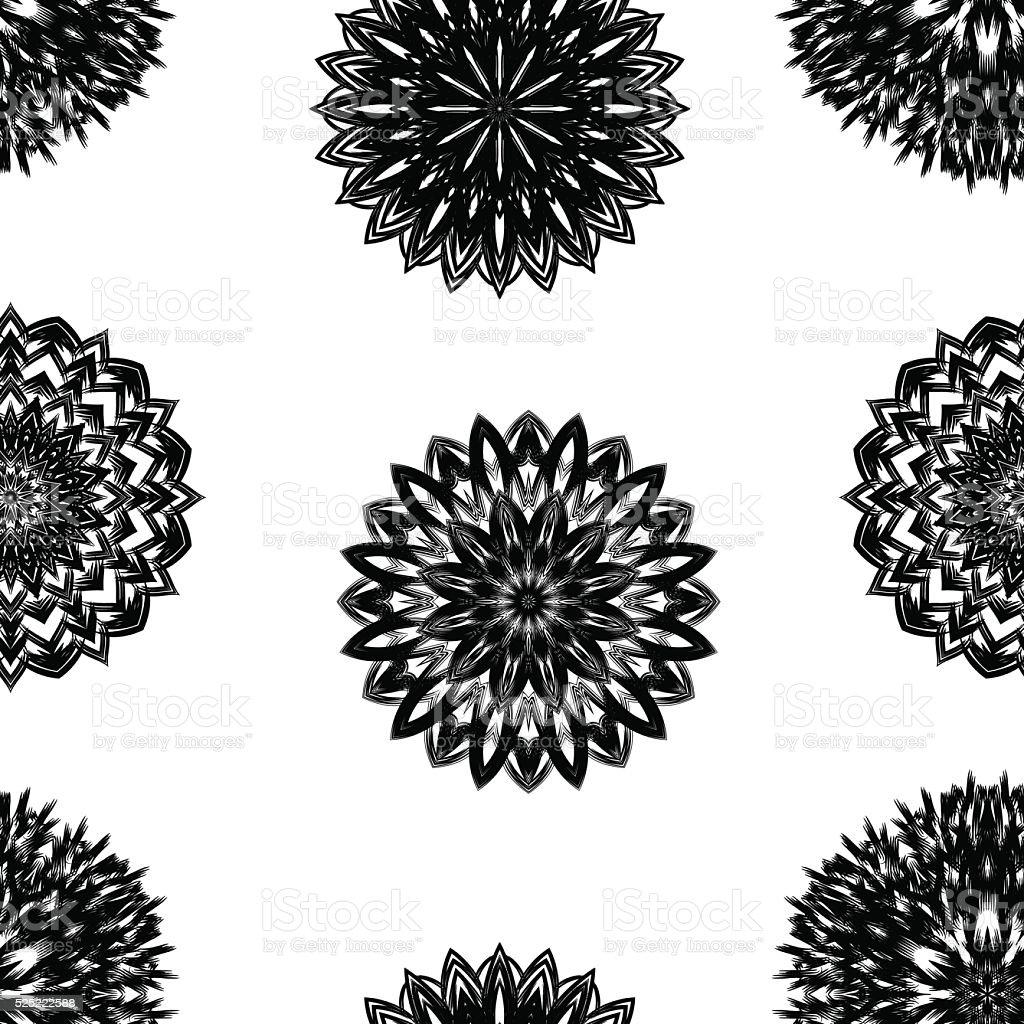 Seamless floral background. Tracery flowers nature pattern. Binary texture. Vector. vector art illustration
