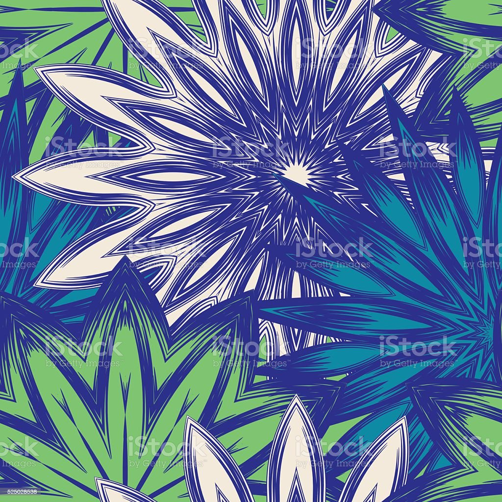 Seamless floral background. Tracery flowers nature pattern. Colorful texture. Vector. vector art illustration