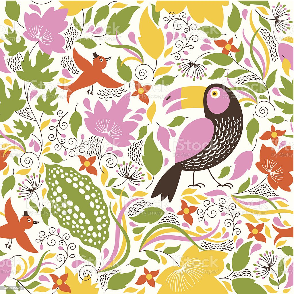 Seamless floral background with a birds royalty-free stock vector art