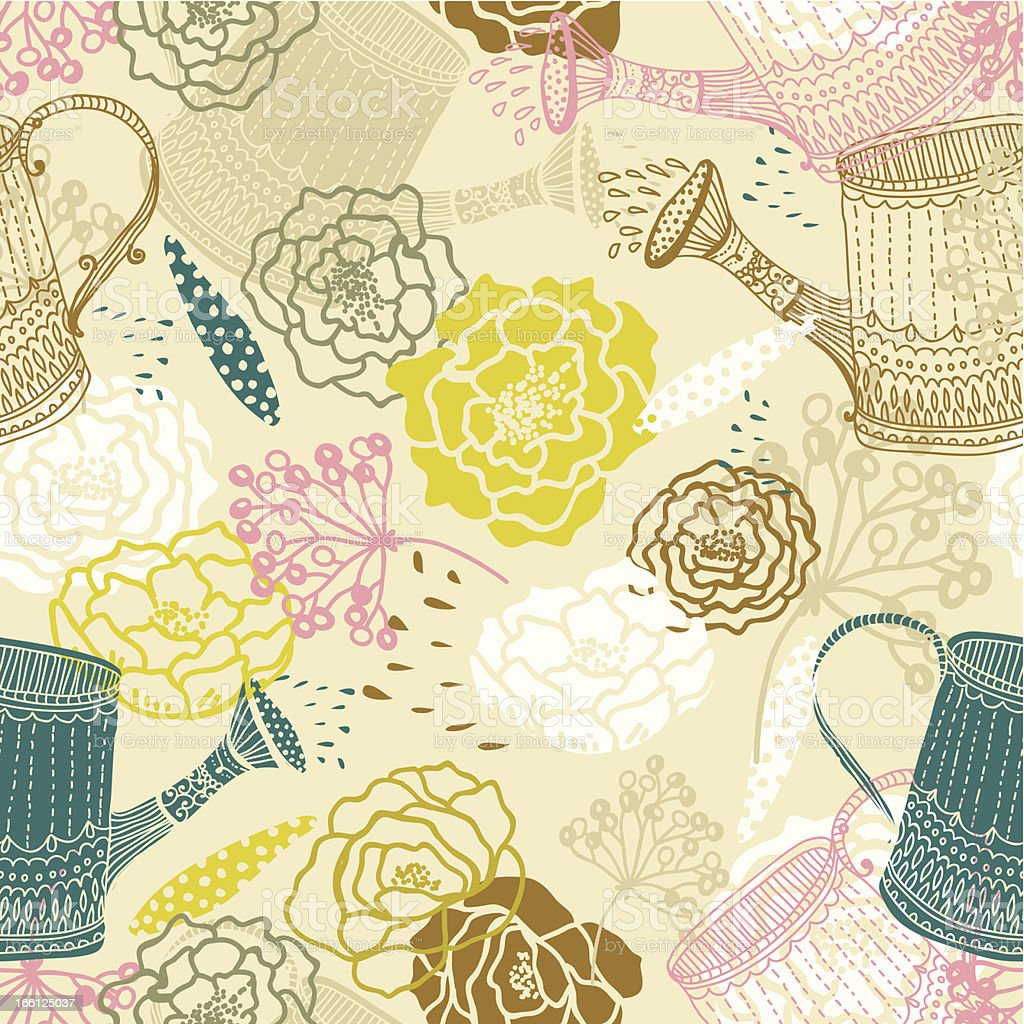 Seamless floral background with watering can royalty-free stock vector art