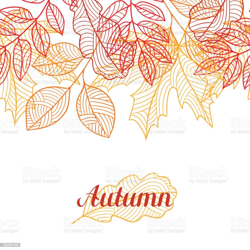 Seamless floral border with stylized autumn foliage. Falling leaves vector art illustration