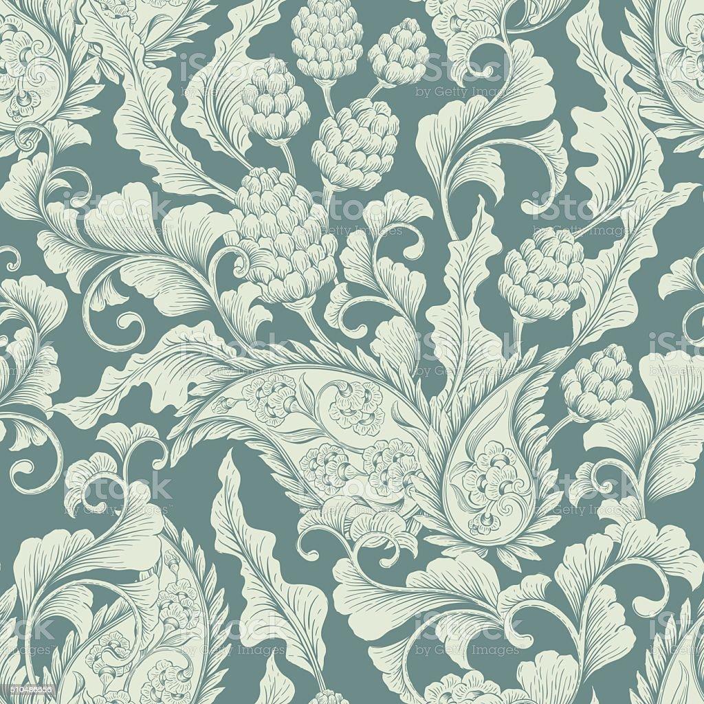 Seamless floral ornament vector art illustration