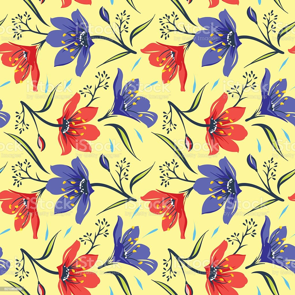 Seamless Floral  pattern 2 vector art illustration
