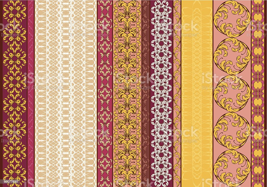 Seamless Floral Pattern and Borders royalty-free stock vector art