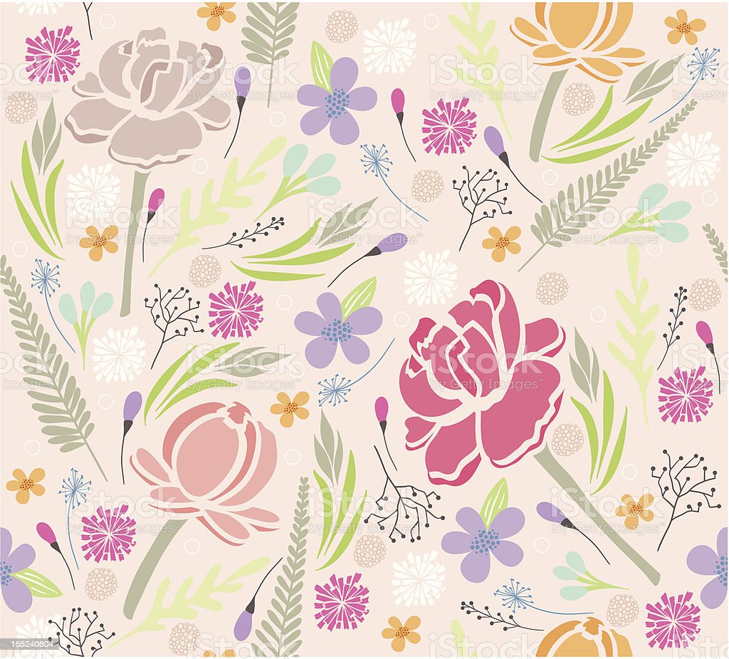 Seamless floral pattern. Background with flowers and leafs. royalty-free stock vector art