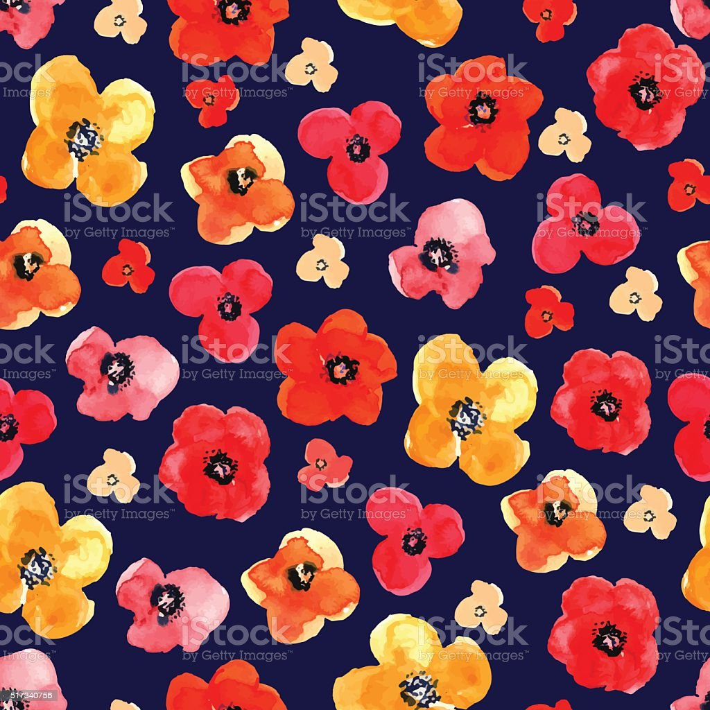 Seamless floral pattern drawn watercolor vector art illustration