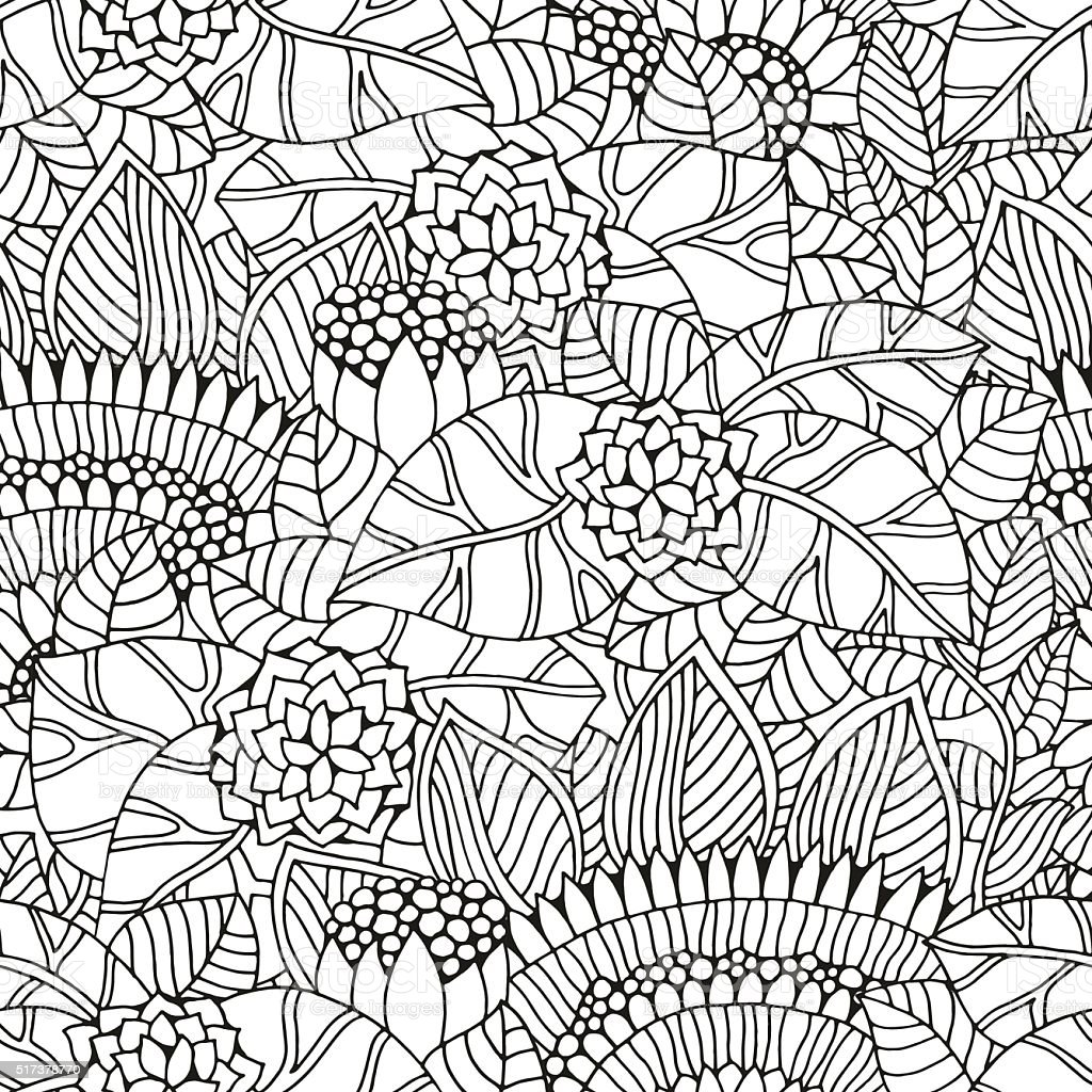 Seamless floral pattern for coloring book. vector art illustration