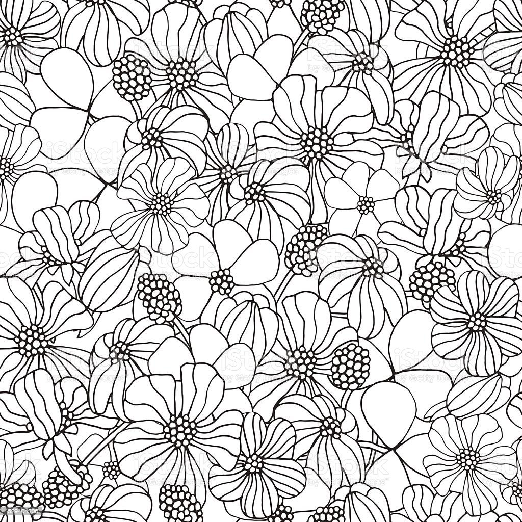 Seamless floral pattern for coloring book with spring flowers. vector art illustration