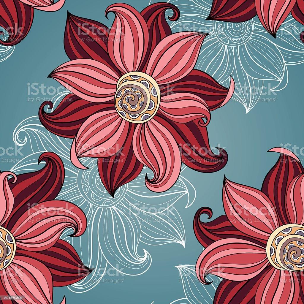 Seamless Floral Pattern (Vector). Hand Drawn Texture vector art illustration