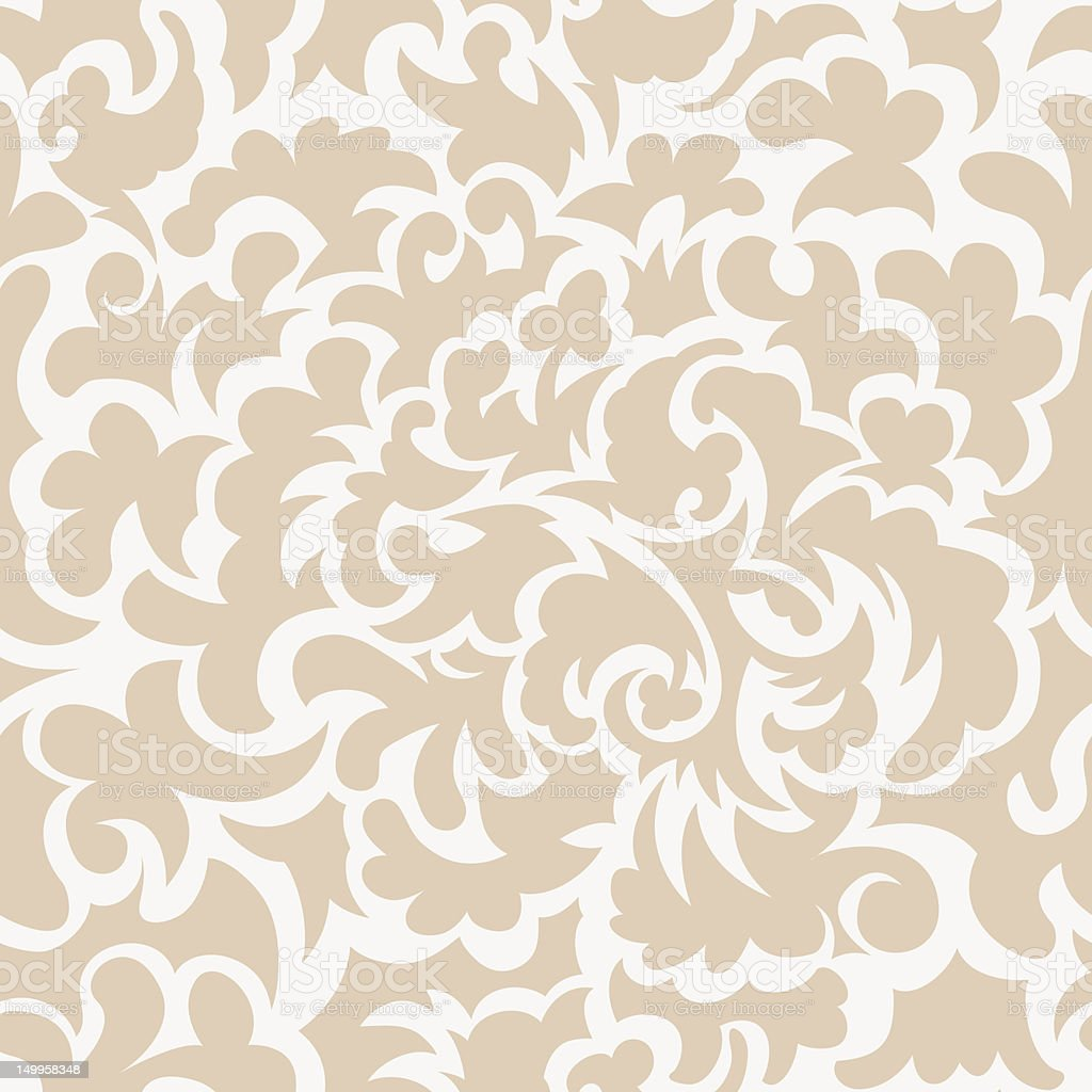Seamless floral pattern in beige and white vector art illustration