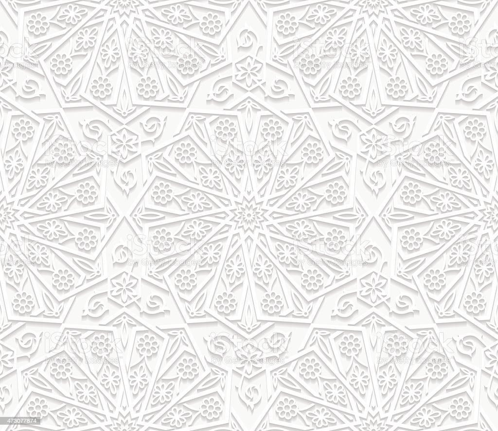 Seamless floral pattern in traditional style vector art illustration
