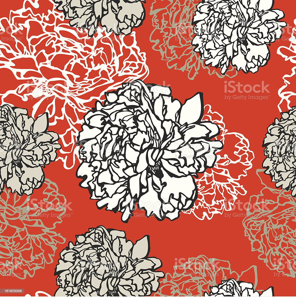 Seamless floral pattern peonies royalty-free stock vector art