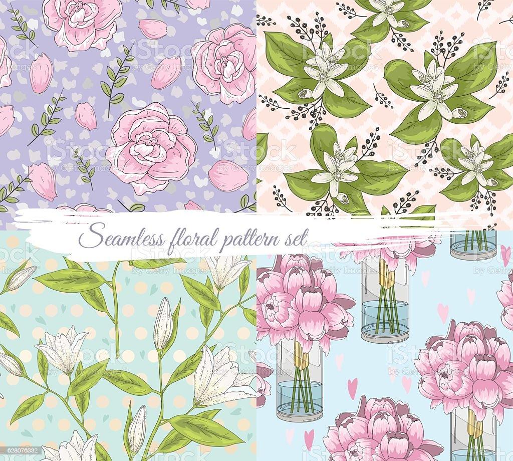 Seamless floral pattern set. Summer or spring background. vector art illustration