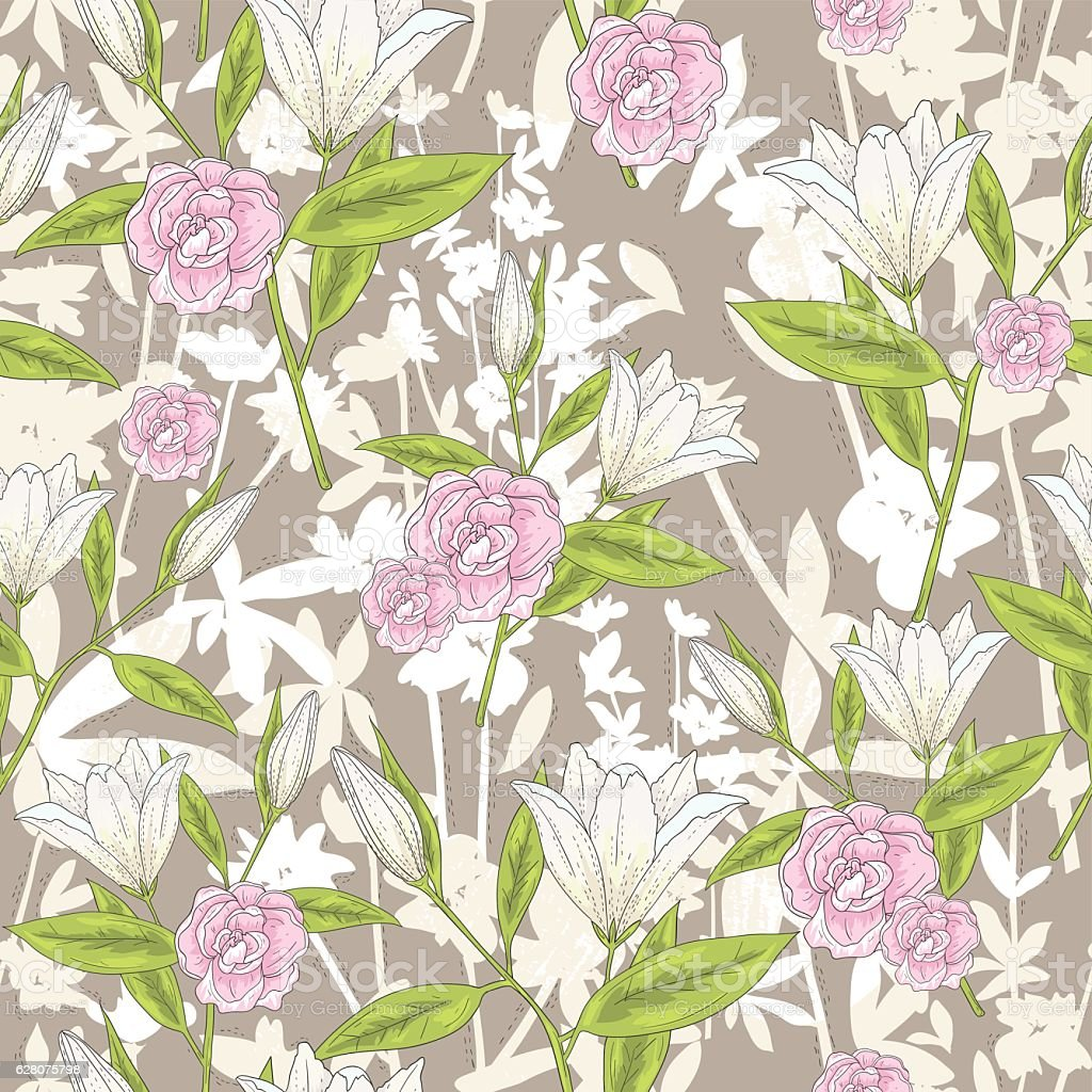Seamless floral pattern. Vector background with lilly flowers and roses. vector art illustration