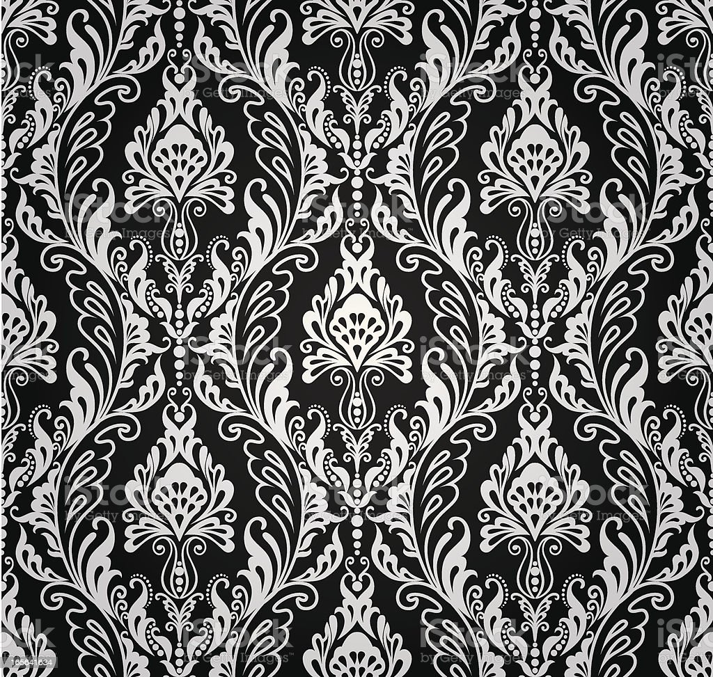 Seamless Floral Pattern (black-and-white) vector art illustration