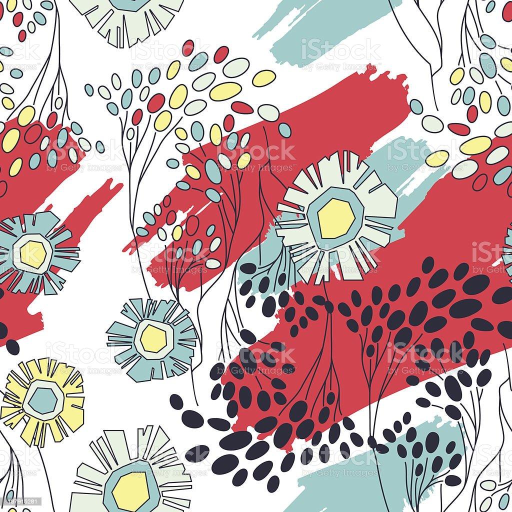 Sem costura padrão floral vetor e ilustração royalty-free royalty-free
