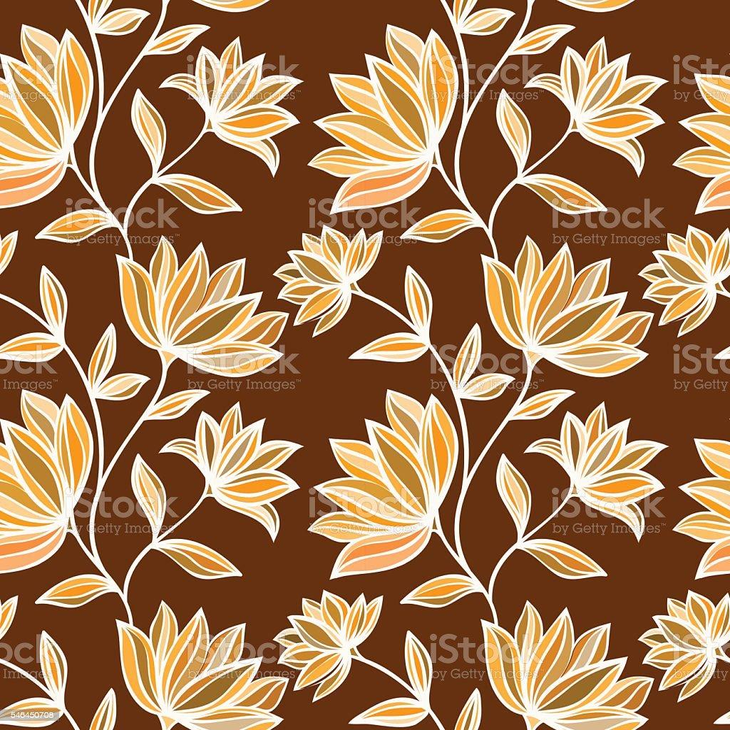 Seamless floral pattern vector art illustration