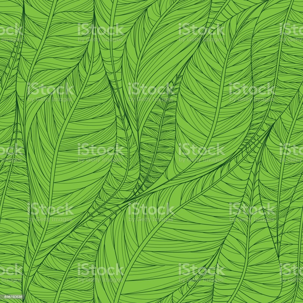 Seamless floral pattern with abstract leaves. Colorful vector background in green colors. vector art illustration
