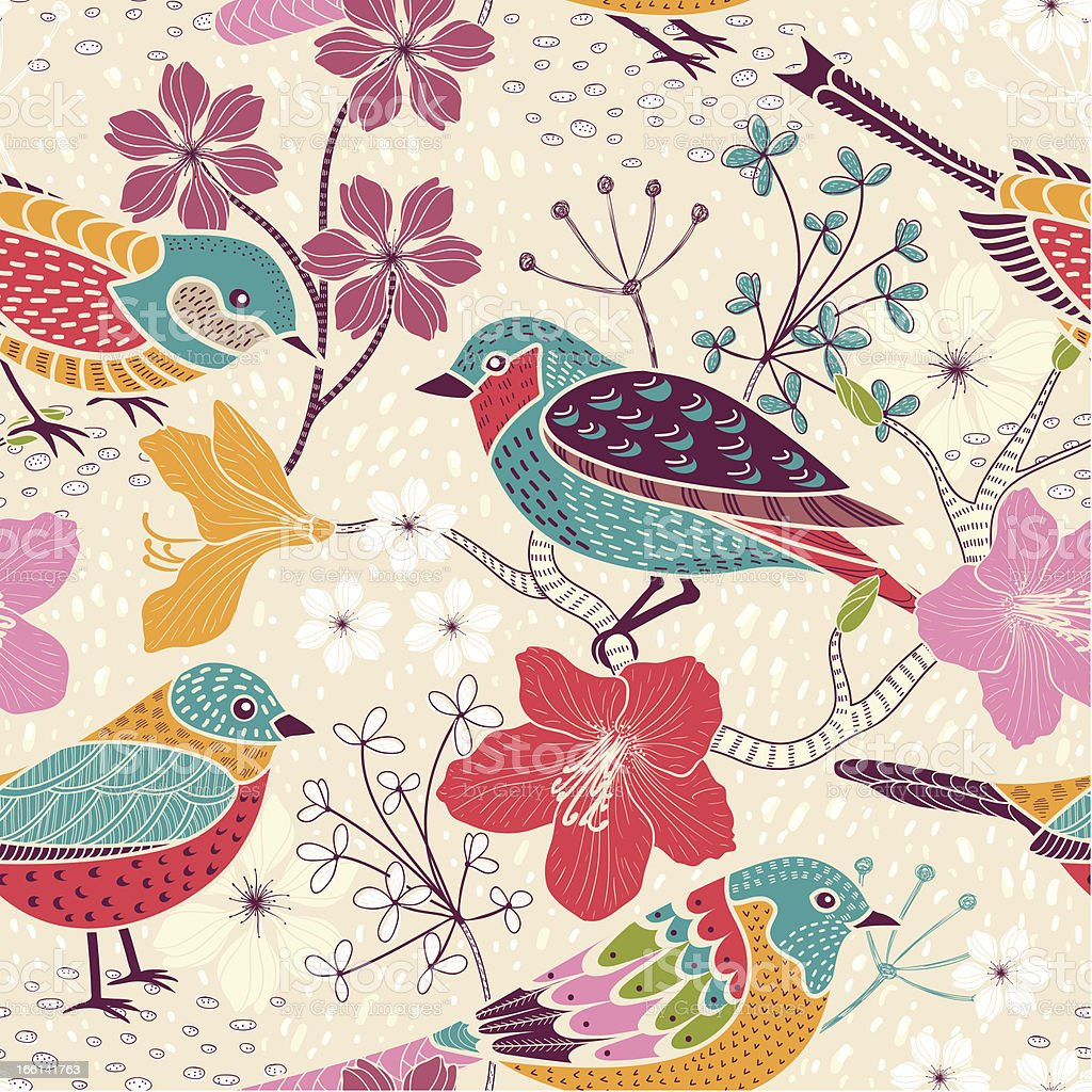 Seamless floral pattern with birds royalty-free stock vector art