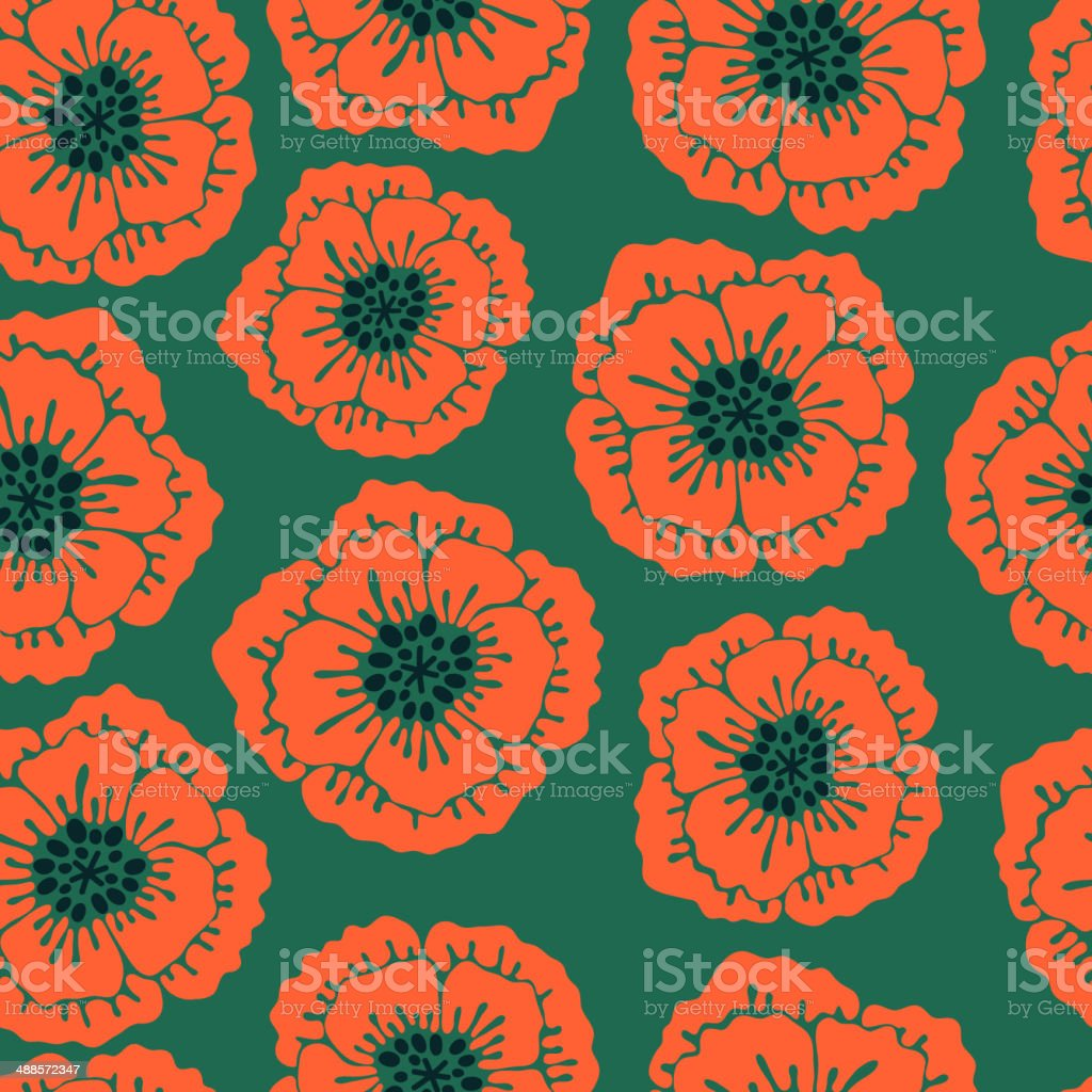Seamless floral pattern with blooming poppies. royalty-free stock vector art