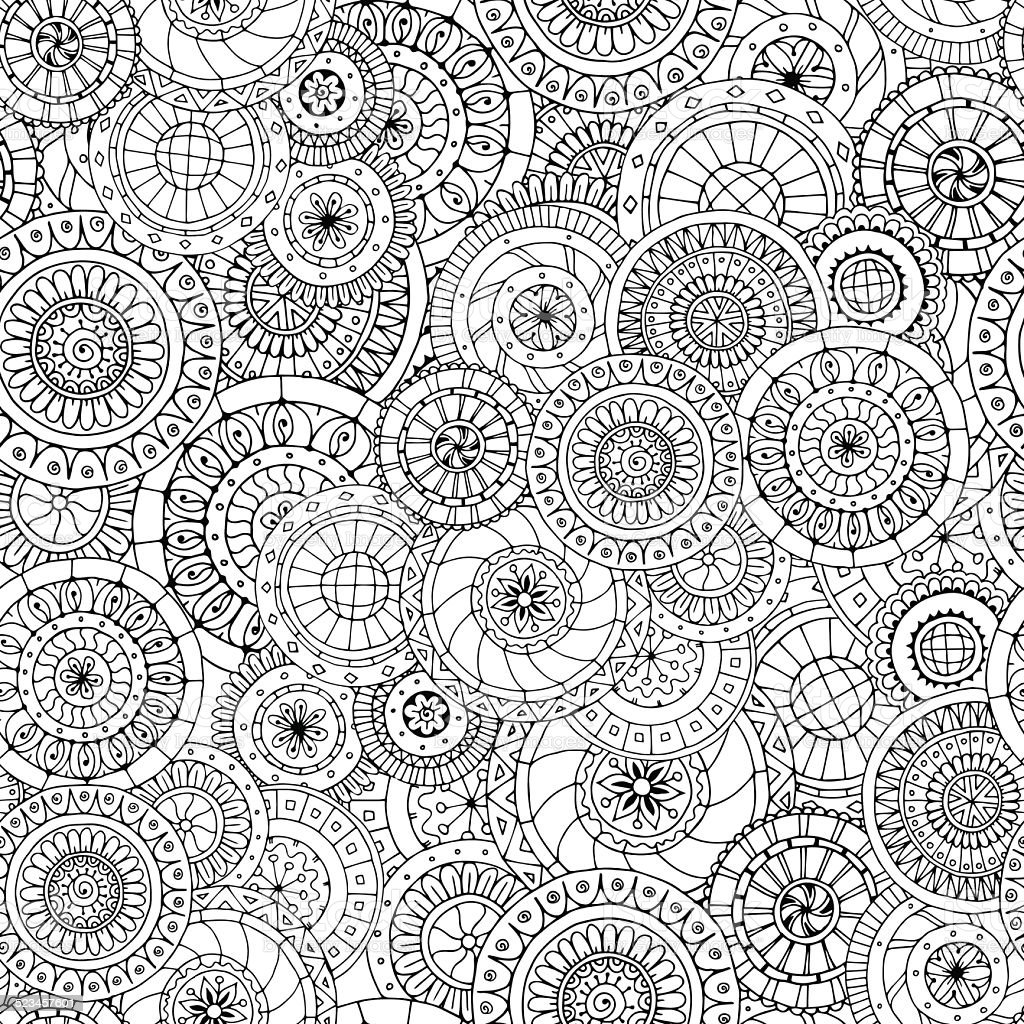 Seamless floral pattern with doodles and cucumbers. vector art illustration