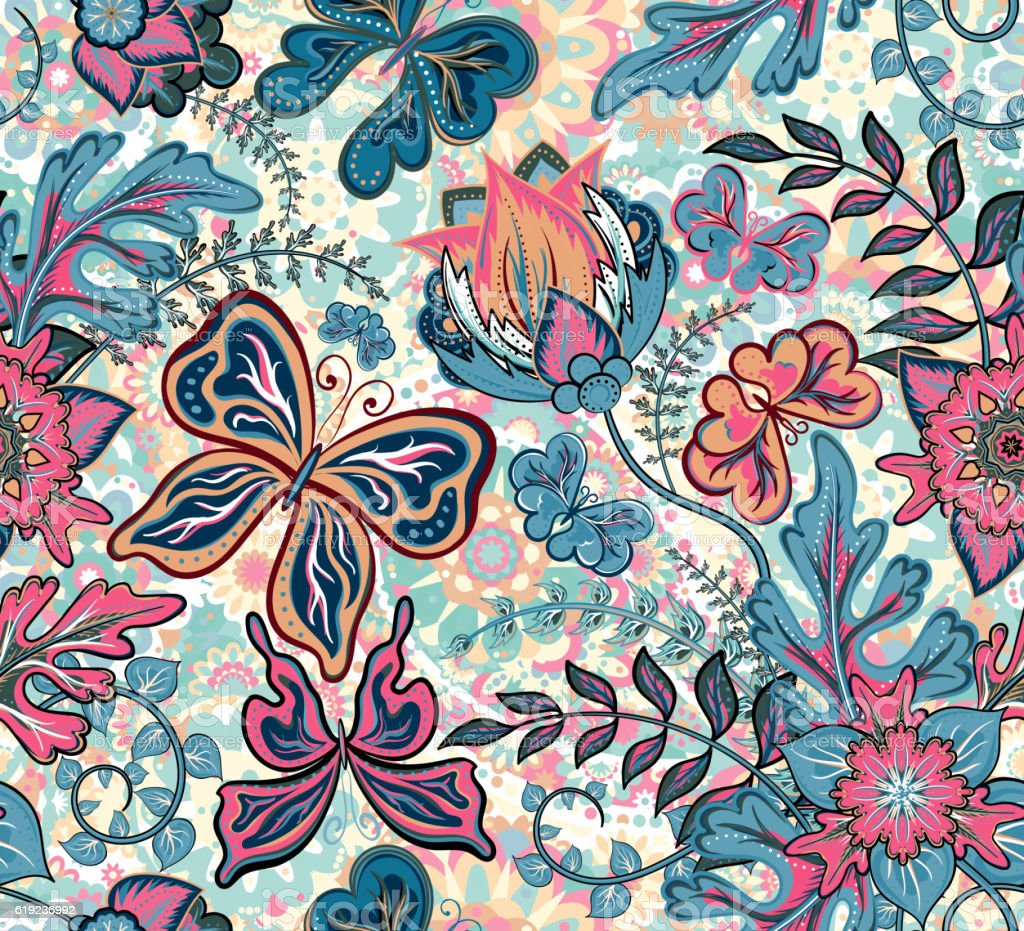 Seamless floral pattern with fantasy flowers and butterflies on colorful vector art illustration
