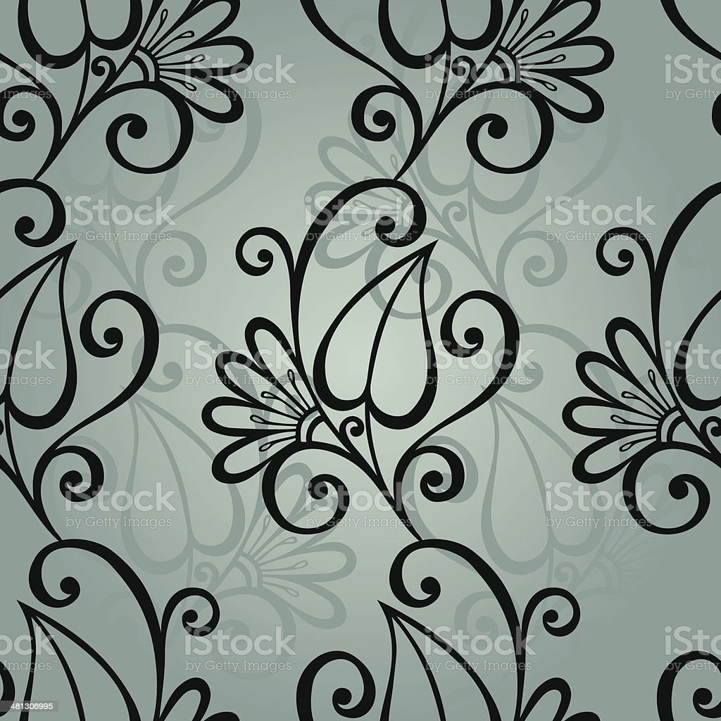 Seamless Floral Pattern with Leaves vector art illustration