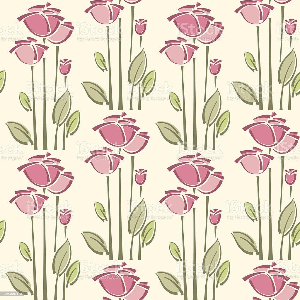 Sem costura padrão floral com rosas vetor e ilustração royalty-free royalty-free