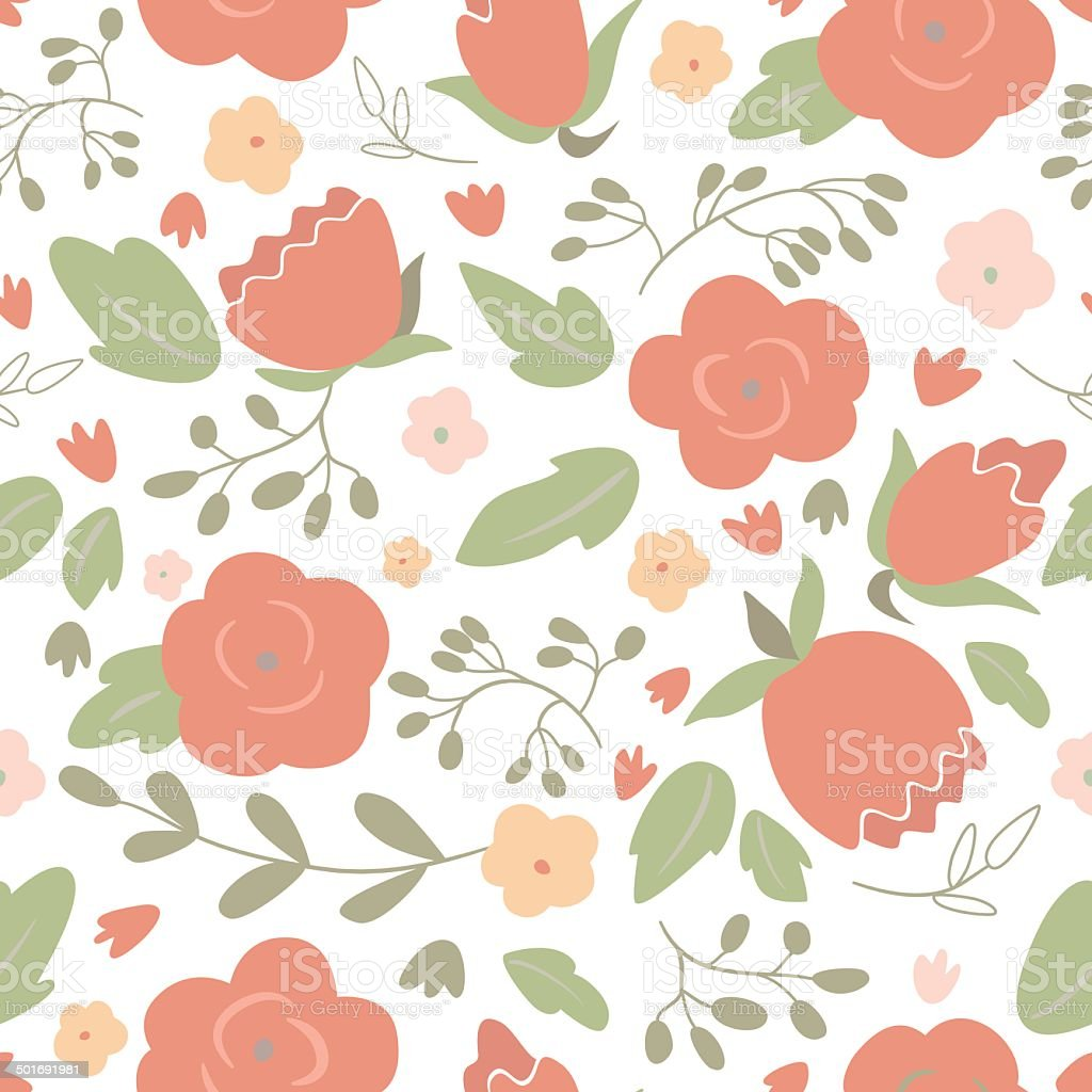 Seamless floral pattern with roses royalty-free stock vector art