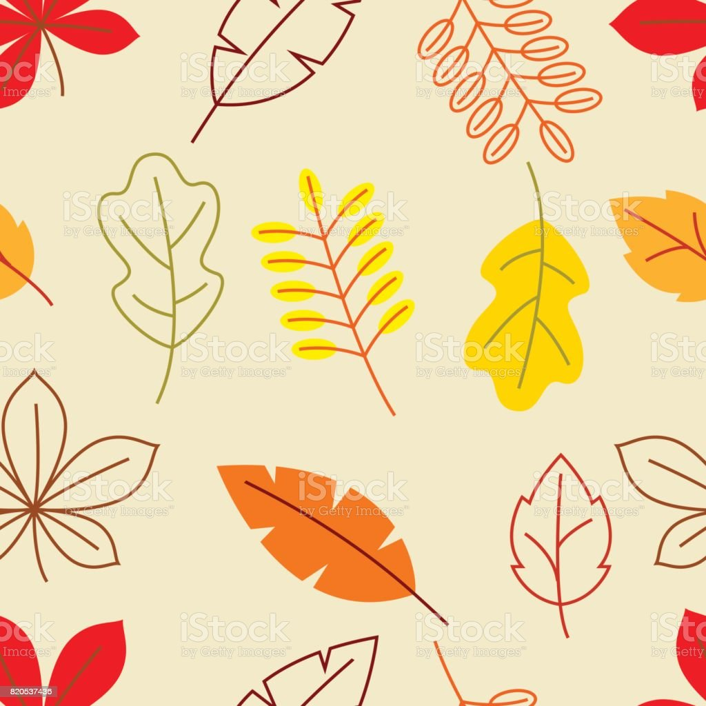 Seamless floral pattern with stylized autumn foliage. Falling leaves in simple style vector art illustration