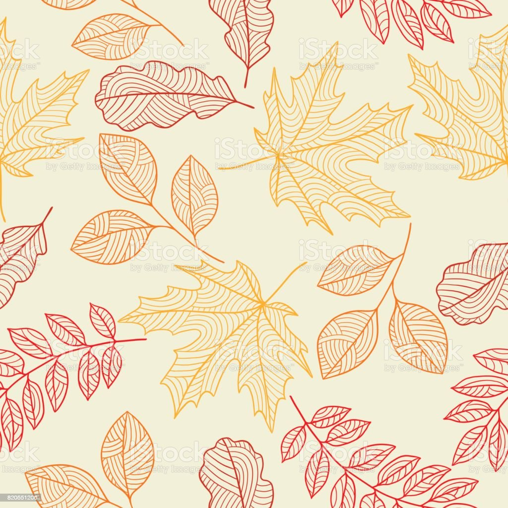 Seamless floral pattern with stylized autumn foliage. Falling leaves vector art illustration