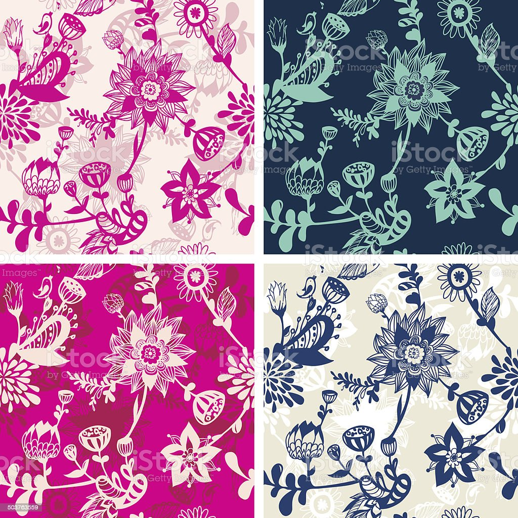 Seamless floral repeat patterns vector art illustration