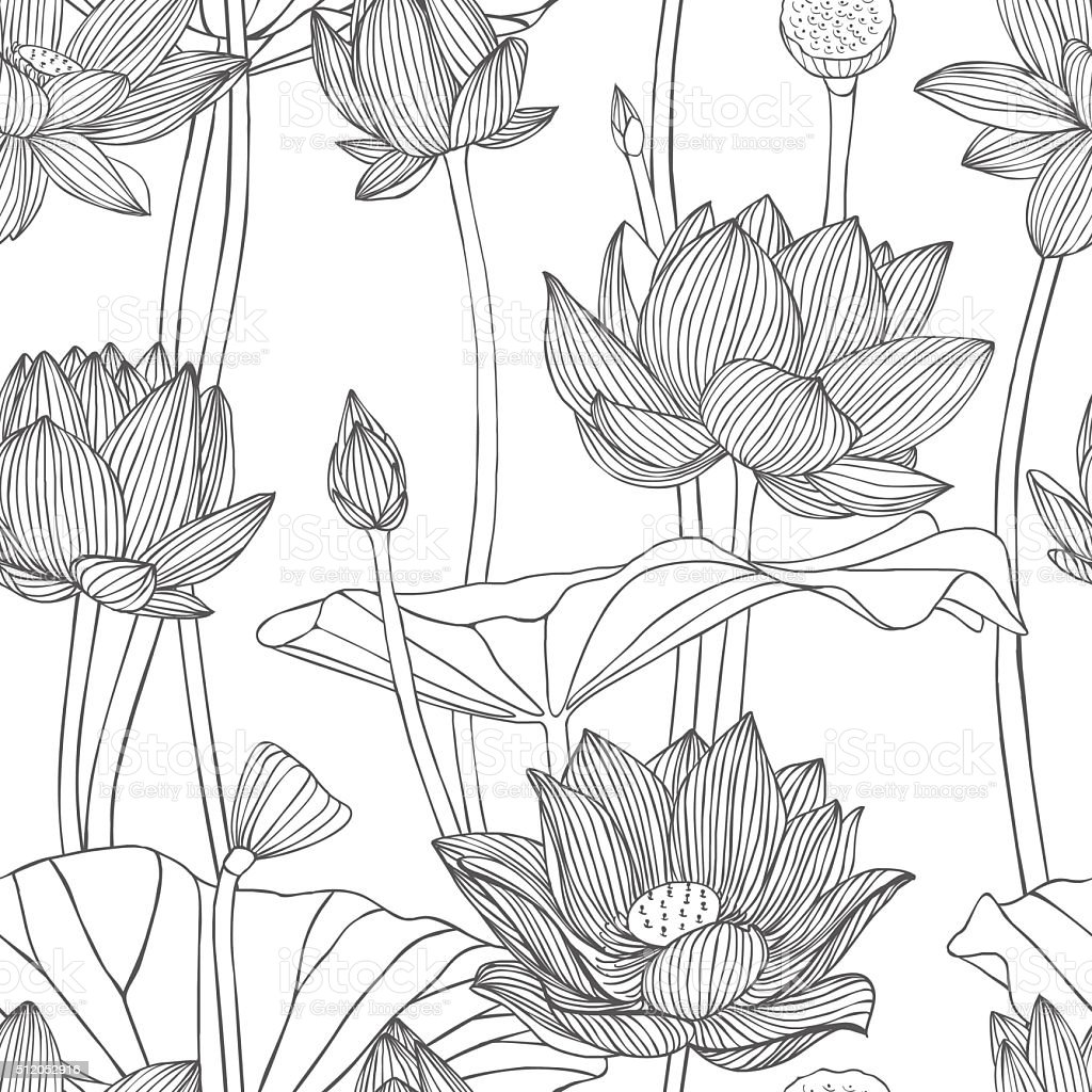 Seamless floral vector pattern lotus  flowers vector art illustration