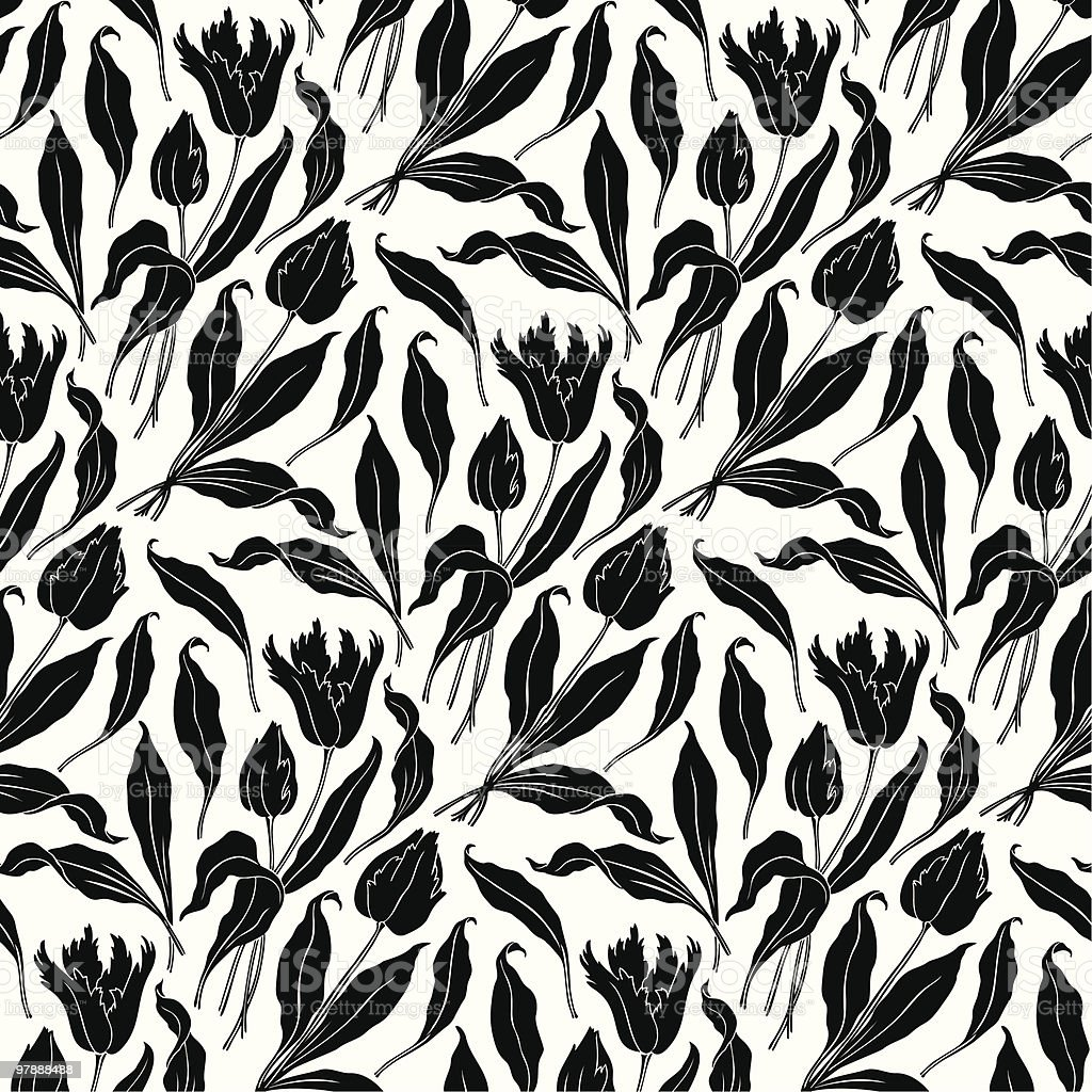 seamless floral wallpaper pattern (vector) royalty-free stock vector art