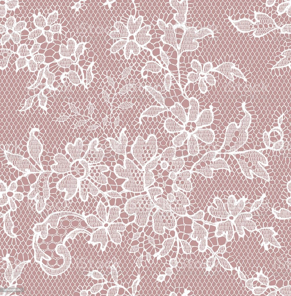 Seamless floral white lace pattern on pink background vector art illustration