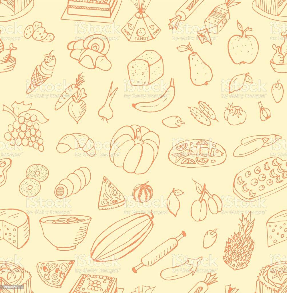 Seamless Food Doodles vector art illustration